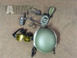 Helma, headset a taktické brýle