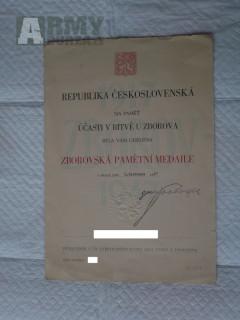 Zborovská pamětní medaile dekret