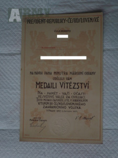 Medaile vítězství dekret