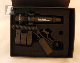 Profi červený laser na dražky 22mm nebo na optiku 25mm spínač na pažbu +spínač vzadu