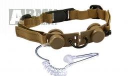 Taktický headset s hrdelním mikrofonem, pískový