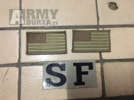 Vlajky US Army multica a IR Special Forces na suchý zip.