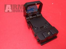 Kvalitní  otevřený KOLIMATOR mikro výklopný, odolný v kovovém pouzdře včerně uchycení na zbraň, osvětlení bodu v červené barvě , celková délka 35mm