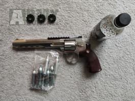 "Airsoft Revolver Ruger SuperHawk 8"" nikl AGCO2 set"