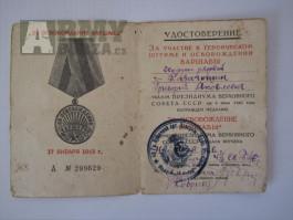 Udělovací dekret-Za osvobození Varšavy