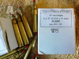 8x57 dlouhé náboje Mauser - slepé střelivo