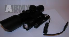 Puškohled krátký s laserem a baterkou  3-10x42