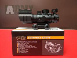 Kvalitní  KOLIMATOR s miřidlámi 4x32 regulace podsvícení 1-5, odolný v kovovém pouzdře včerně uchycení na zbraň, možnost přidaní baterky nebo laseru,