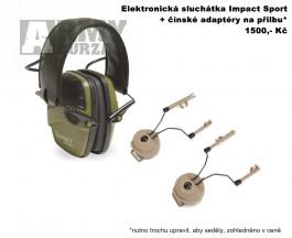 Elektronická sluchátka Impact Sport + čínské adaptéry na přilbu