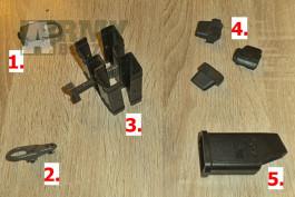 Prodej vybavení - spona zásobníků MP5, oka popruhů, podavače a nabíječ zásobníků
