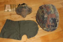 Vojenská helma, kovová maska, kukla