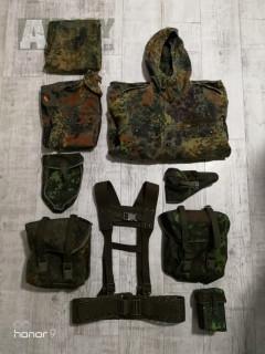 Blůza, kalhoty, bunda s vložkou, nosný systém, 2x malá polní, sumka na lopatku, sumka na 2 zásobníky g36(M4) a pouzdro na pistoly P08 nebo P38