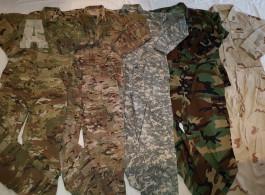 US Army ACU, BDU, DCU uniforma, maskáče